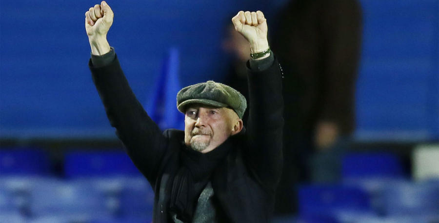 R's boss Ian Holloway punches the air at full time