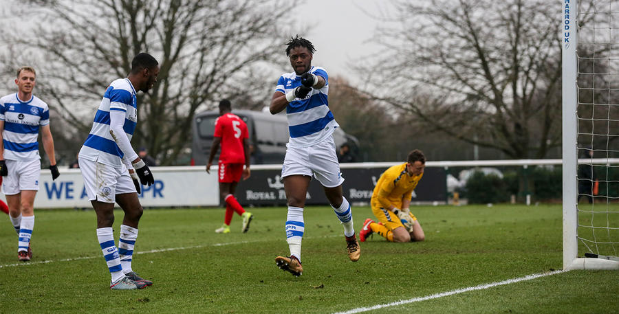 Oteh celebrates his first goal of the afternoon