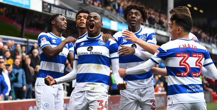 Osayi-Samuel celebrates his goal with his QPR teammates