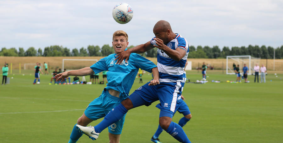 Alex Baptiste heads clear