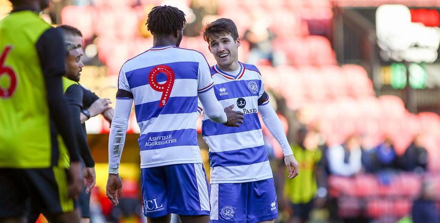 Paul Smyth celebrates his goal with Aramide Oteh