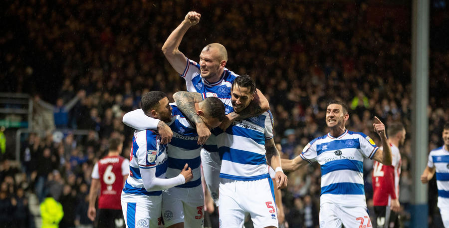 Fist pumps from Toni Leistner after QPR's third