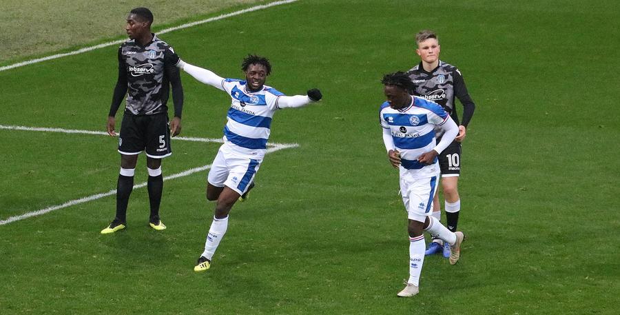 Osman Kakay celebrates his goal with Aramide Oteh