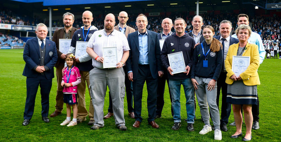 All the winners pitch-side with QPR Ambassador Andy Sinton & Member of Parliament for Hammersmith Andy Slaughter