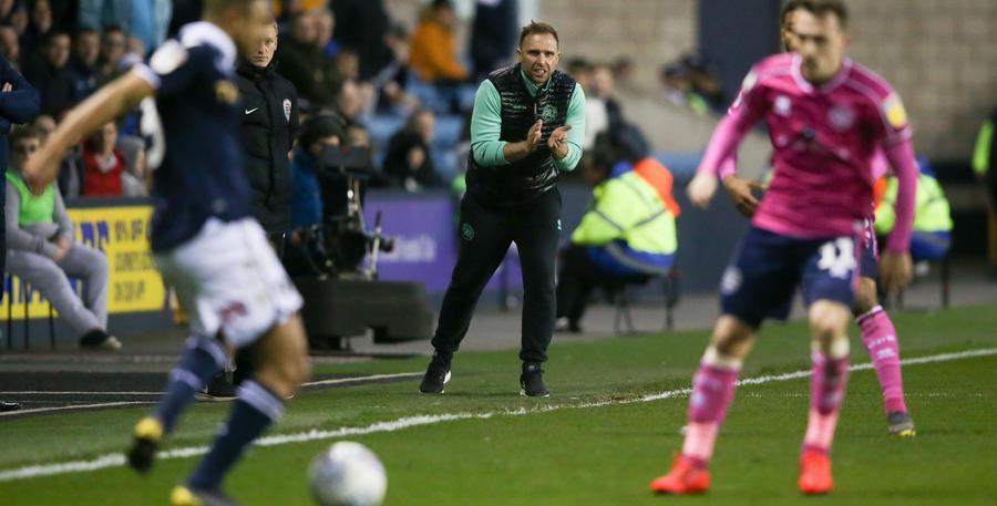 John Eustace roars encouragement to his QPR players.